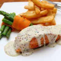 Sweet potatoes and salmon